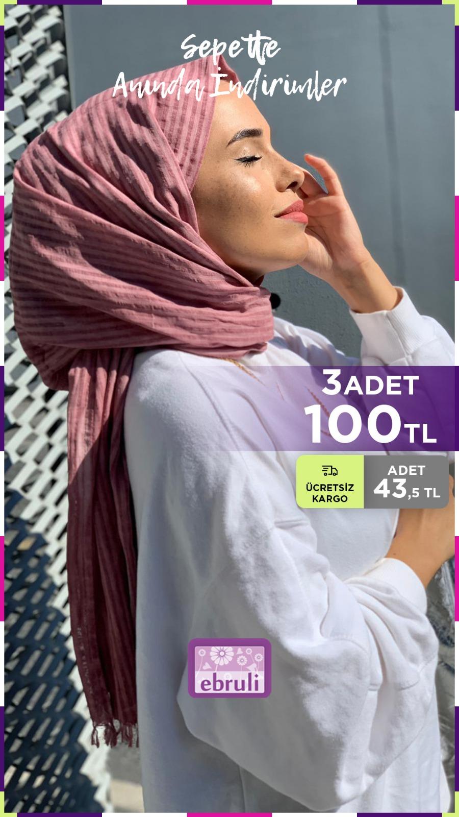 %100 Cotton Silk Gül Kurusu Pamuk Şal