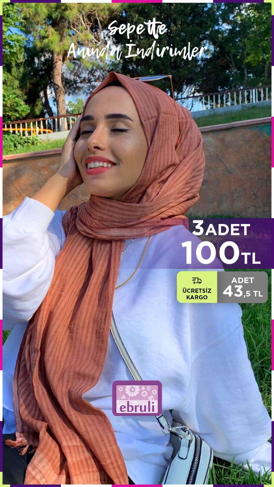 %100 Cotton Silk Tarçın Pamuk Şal